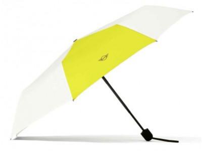Складной зонт MINI Foldable Umbrella, Contrast Panel, White/Energetic Yellow